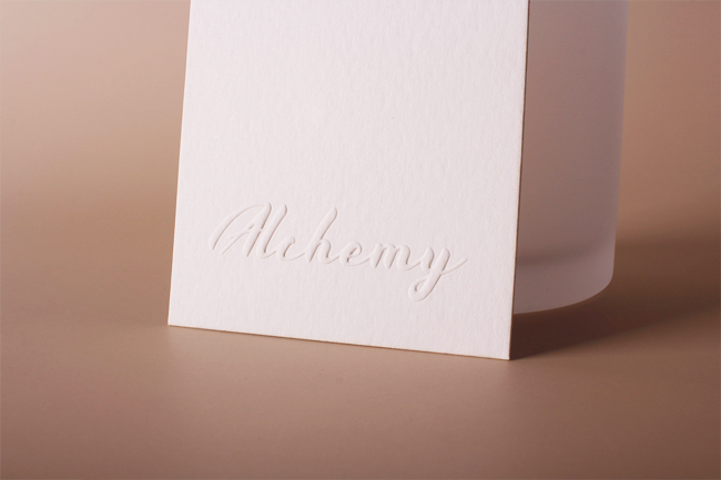 alchemy embossed hang tags