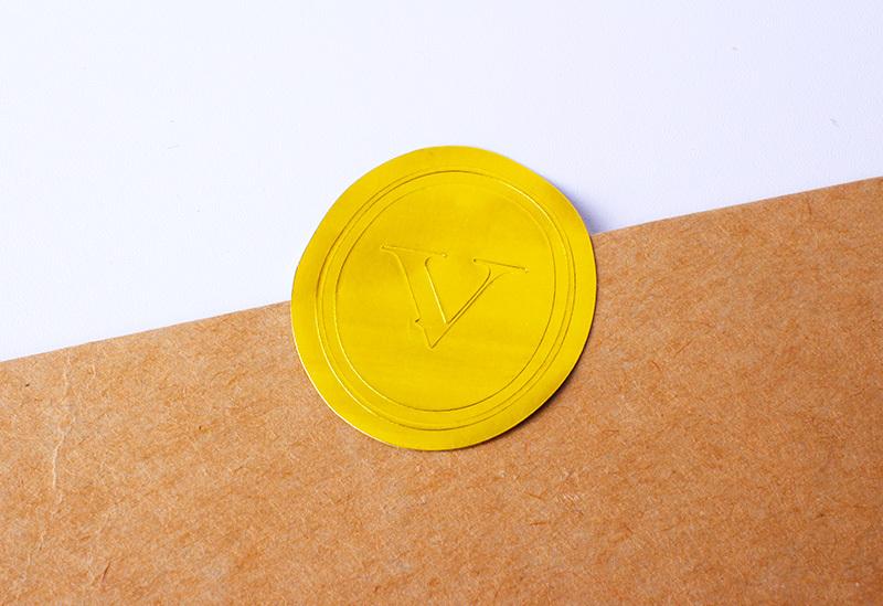 print round emboss stickers