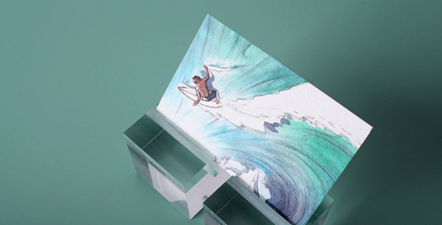 surfing textured postcard